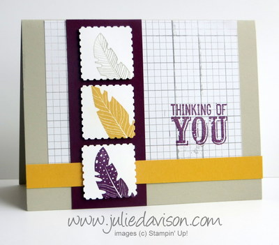 Stampin' Up! Four Feathers Card for Stamp of the Month Club Card Kit #stampinup www.juliedavison.com
