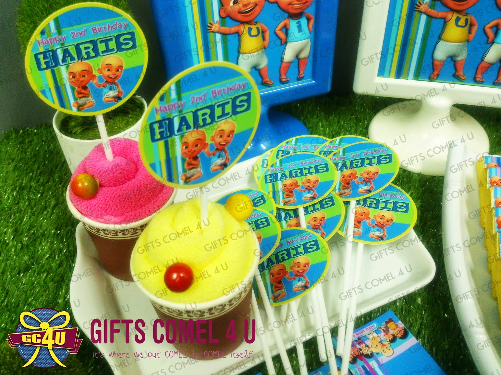 Gifts comel 4 u ordered by faerah nasir upin ipin blue upin ipin bluegreentheme cupcake topper 54cm stopboris Image collections