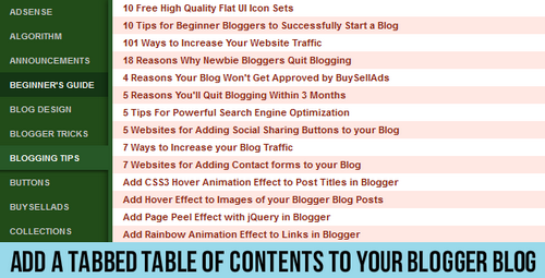 Add a Tabbed Table of Contents to your Blogger Blog