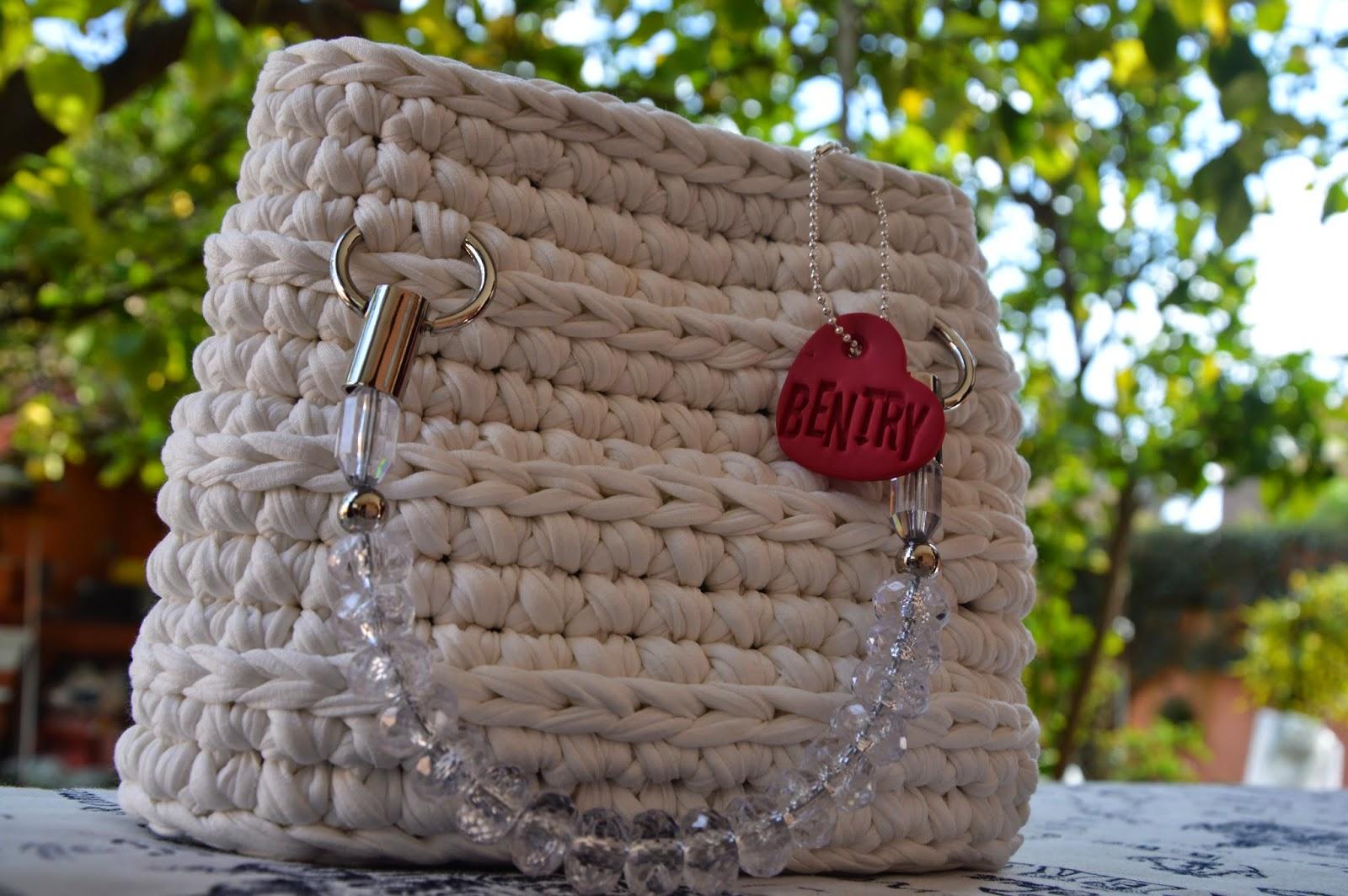 Borsa manico gioiello cotone bianco