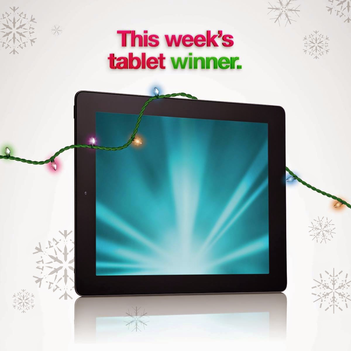 image Cogeco Giveaway Prize -16 GB Tablet $500 ARV wrapped in holiday lights