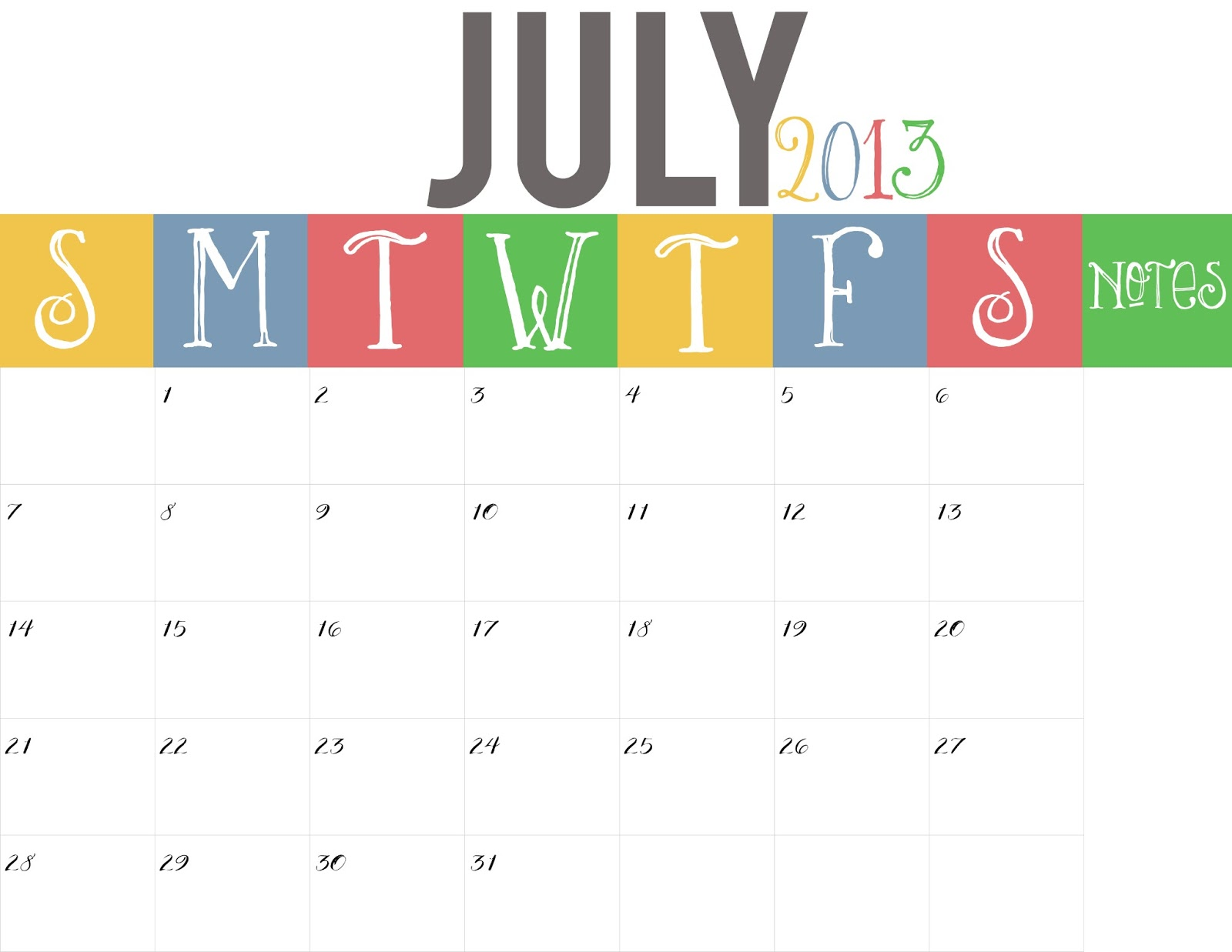 Blank Calendar Of July 2013 New Calendar Template Site 2013