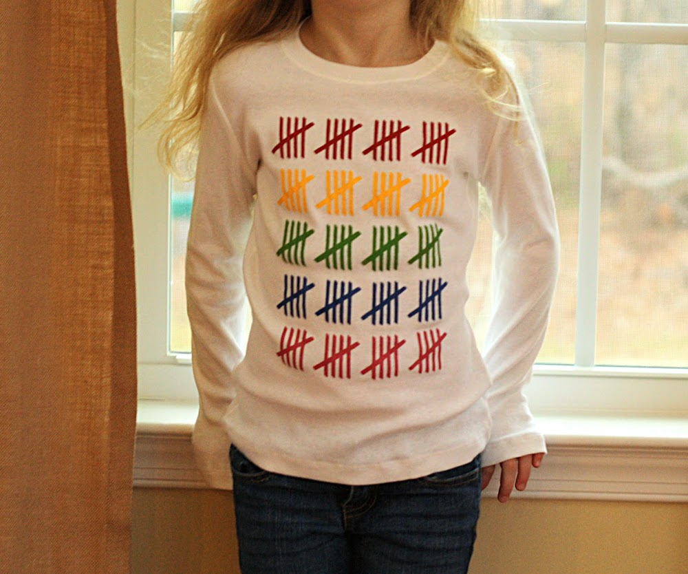 colorful tally mark shirt
