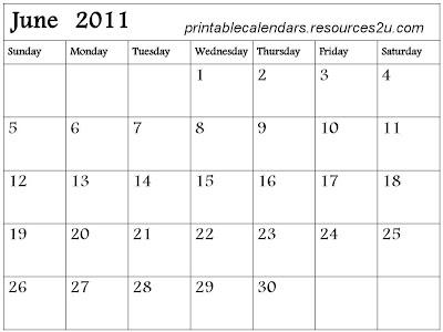 blank calendar 2011 june. Free 2011 Calendars with