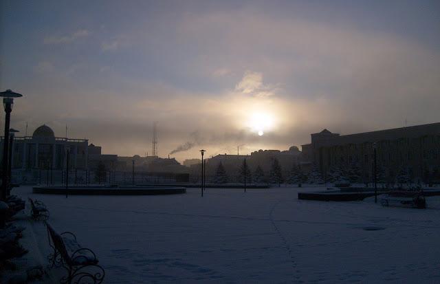Вечерний Магас зимой