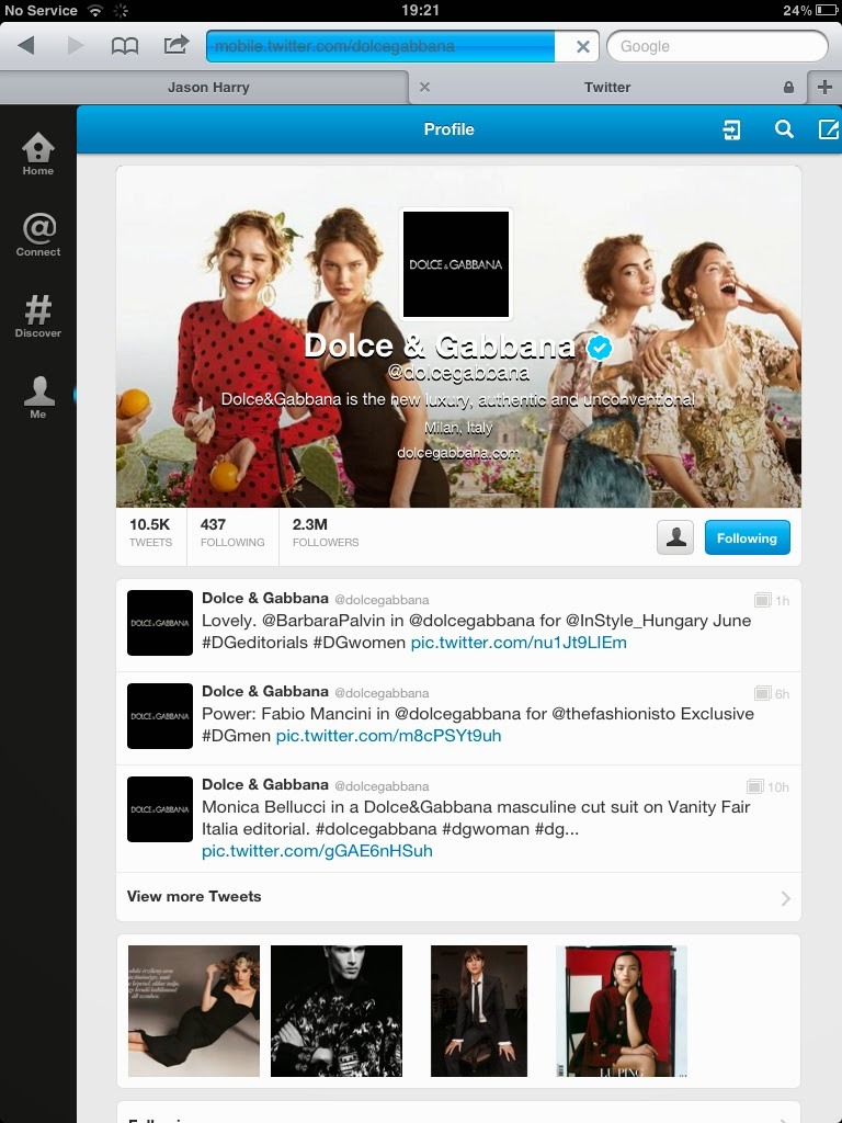 "Dolce & Gabbana tweets ""Italian Beauty"""