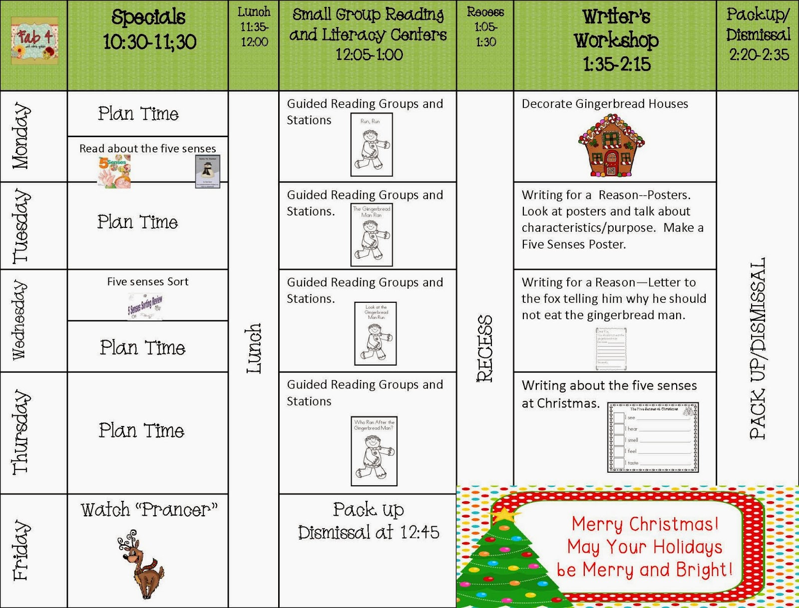 Fab4 Lesson plans for the week of December 16, 2013