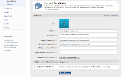 auth dialog setting