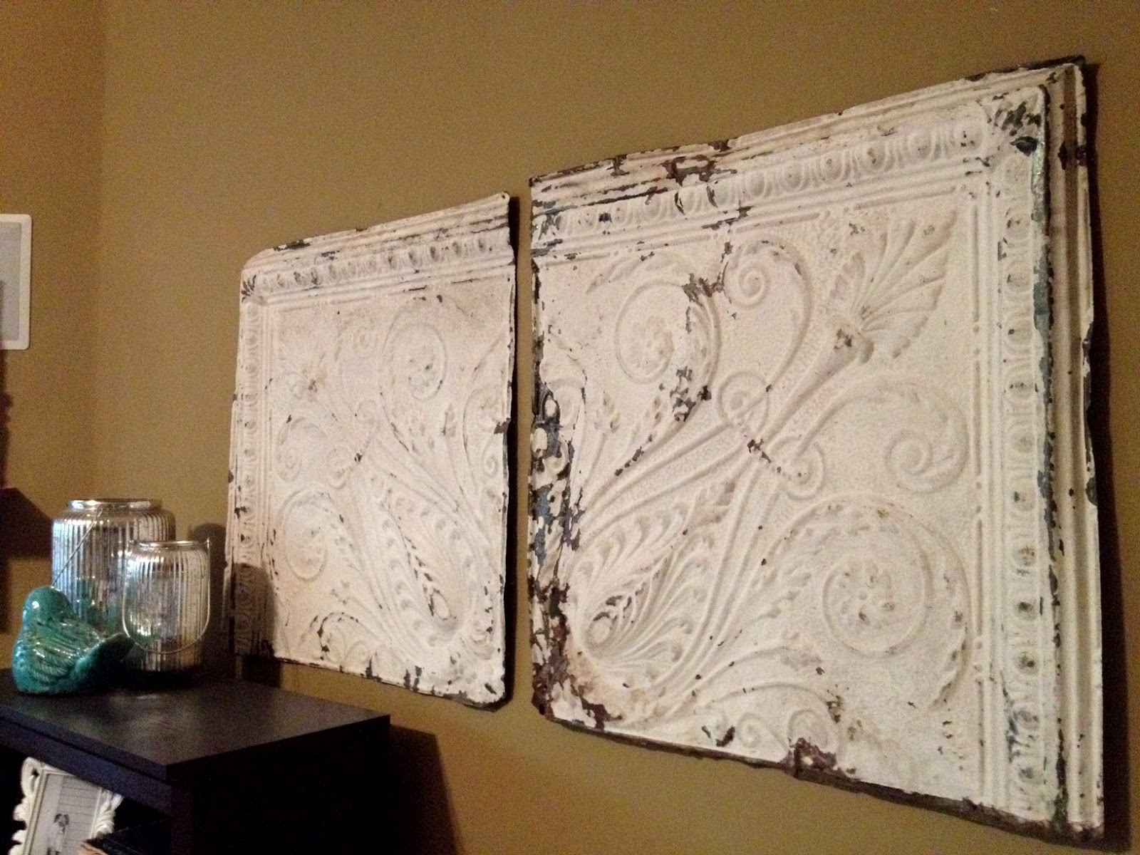 Somewhere between rustic shabby good ol tin ceiling tiles some of my favorite things in my house are my old tin ceiling tiles i got them from my favorite antique shop out in johnson city dailygadgetfo Gallery
