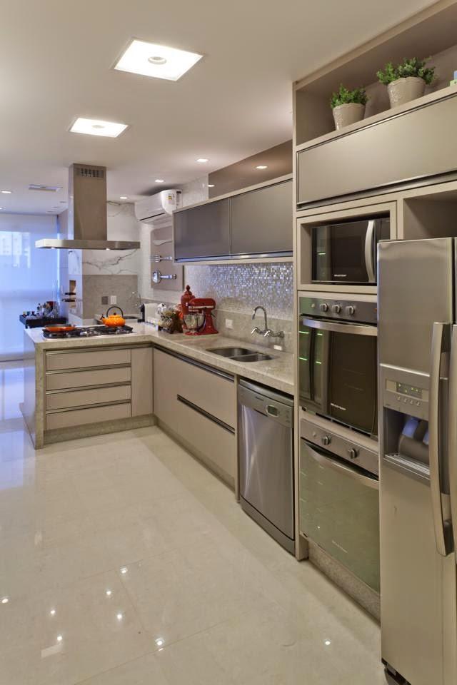 Apartamento com decoração clássica e contemporânea neutra chiquérrimo!  Deco # Decoracao De Cozinha Retangular