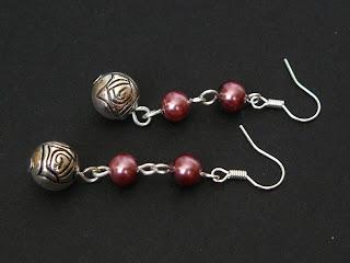 biżuteria z półfabrykatów - lawendowe perły (kolczyki)
