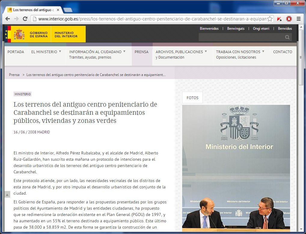 Plataforma por un centro para la paz y la memoria en la for Pagina web ministerio interior