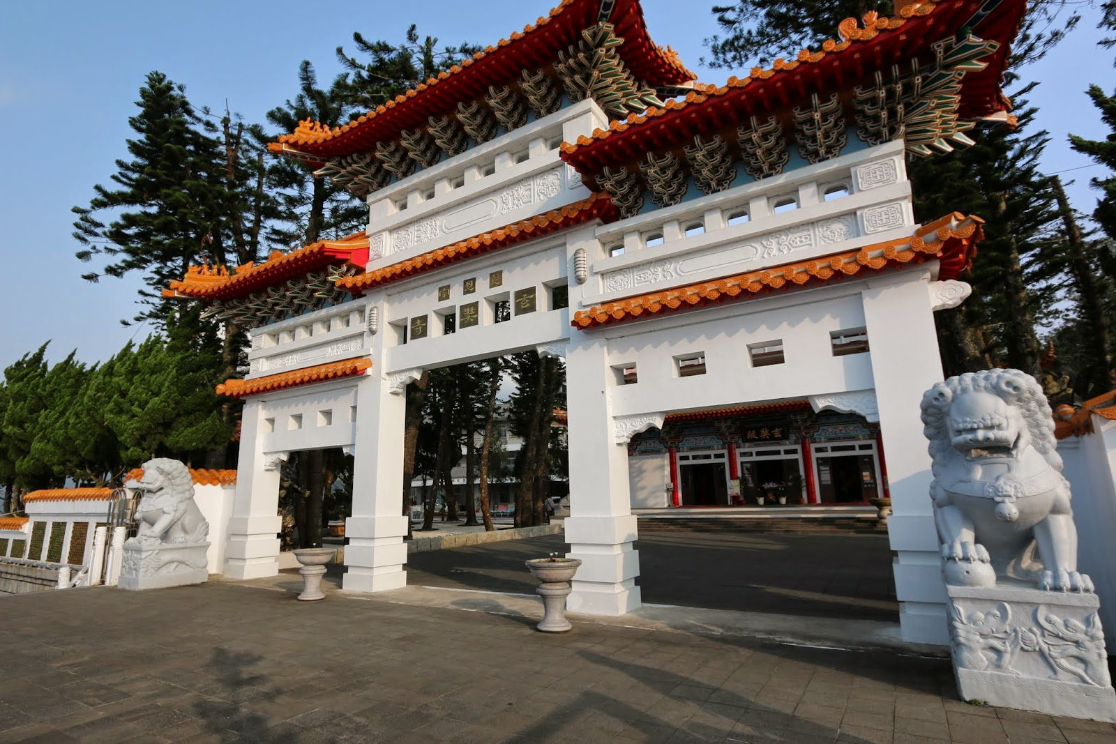 The front gate entrance of Xuanzang Temple nearby Sun Moon Lake in Nantou County of Taiwan