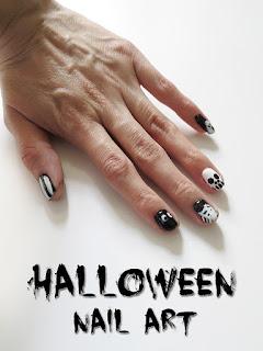 5 Halloween Nail Art Designs! Easy Black & White Nail Tutorial - 5 Diseño de Uñas! Día de Muertos! Diseño de Uñas! Día de Muertos (Fáciles y Bonitas)