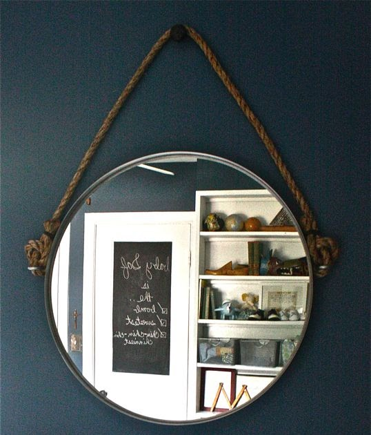 Moss eclectic my diy restoration hardware inspired rope for Restoration hardware round mirror