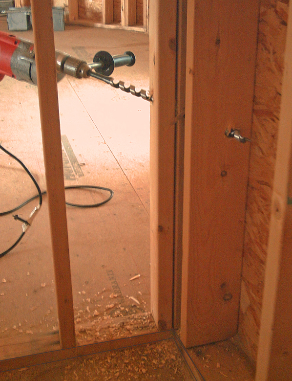 With 2 inch by 6 inch studs you can hold your drill at a 45 degree angle and drill a hole through a corner. If the hole at the inner corner ... : long drill bit for wiring - yogabreezes.com