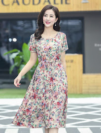 New 2018 16-Design Sweet Floral Plus Size Drawstring Waist Smooth Short Cotton Dress