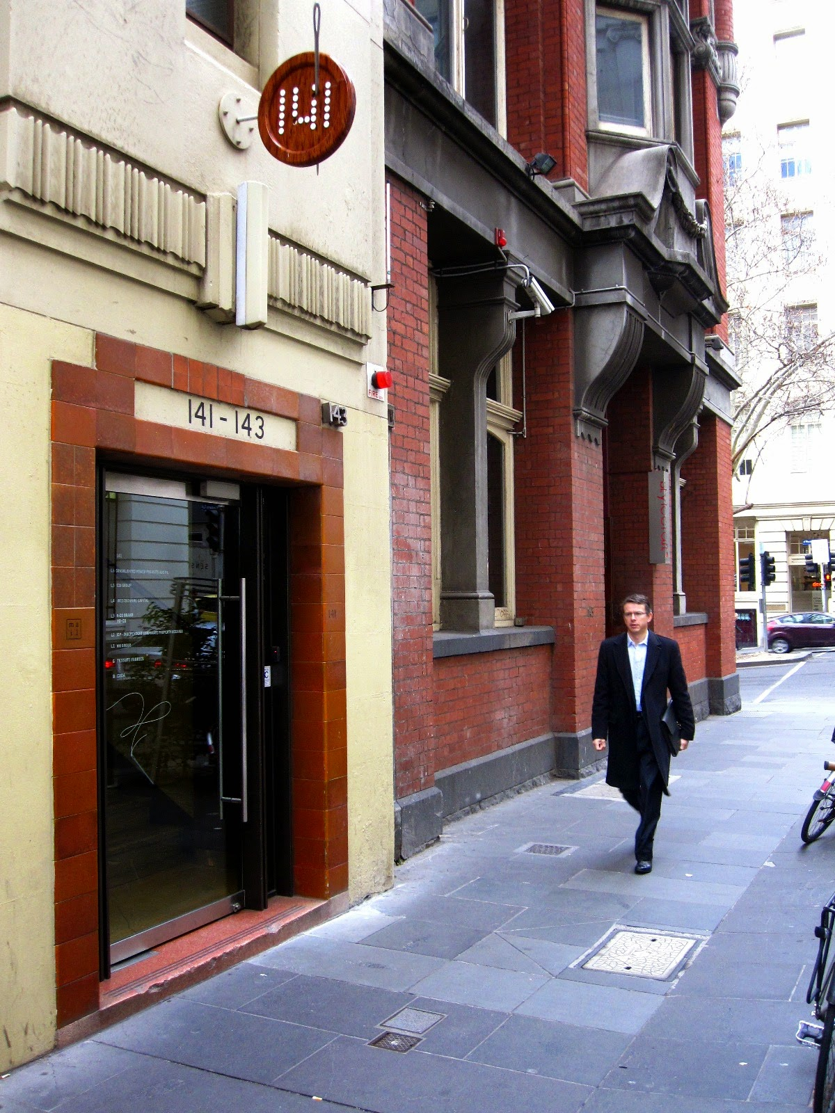 Front entrance of 141 Flinders Lane in Melbourne.