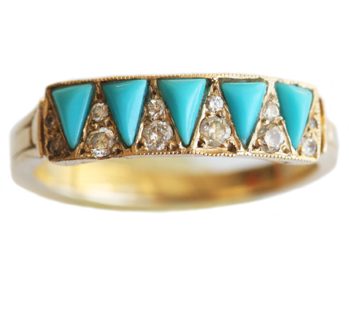 Turquoise and Diamonds in Gold from Mociun