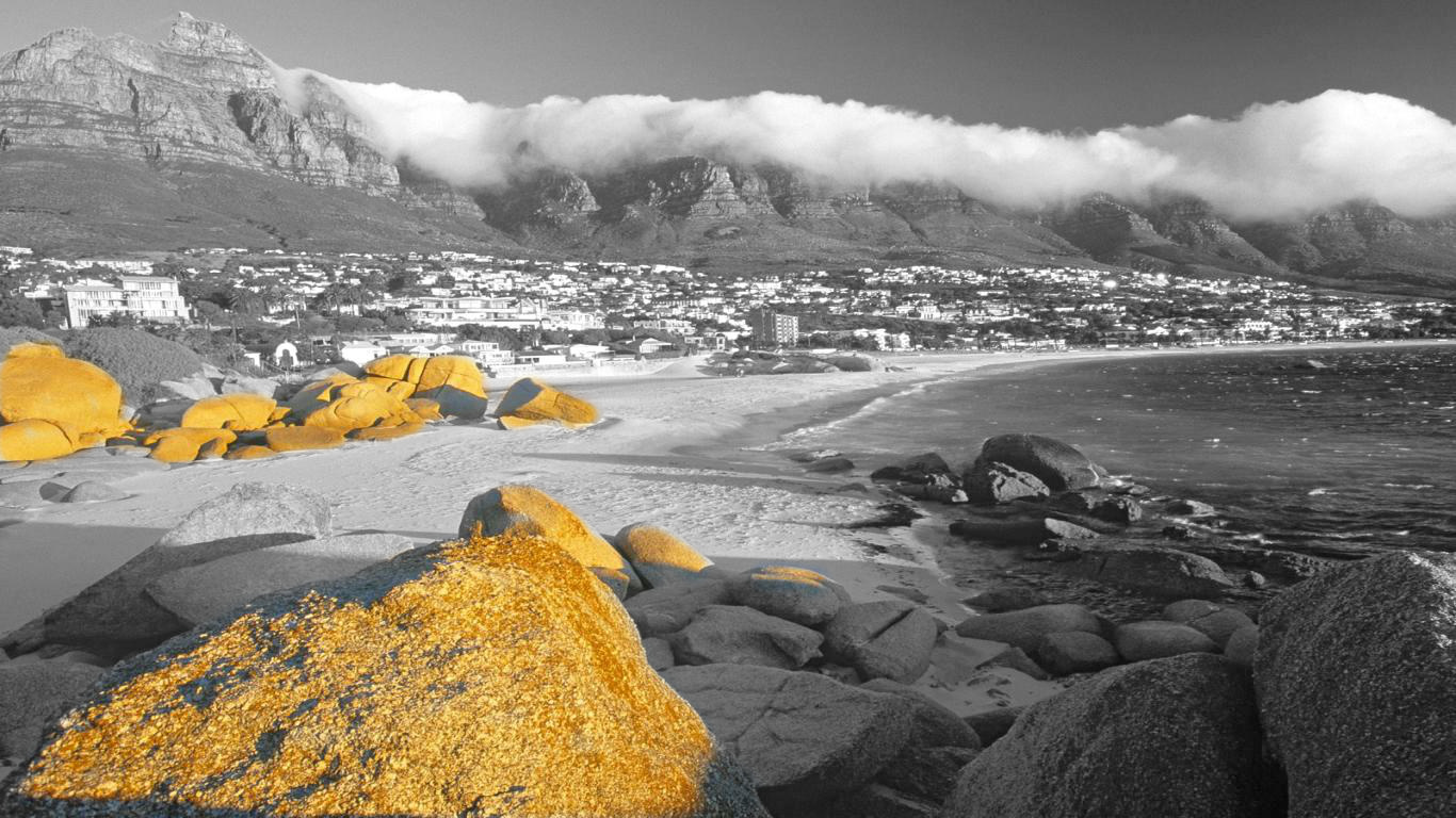 Cape Town beach Black and white photography with color