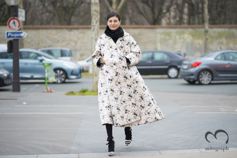 mitograph Giovanna Battaglia wearing Rochas Coat before Dior Paris Fashion Week 2013 2014 Fall WInter PFW Street Style Shimpei Mito