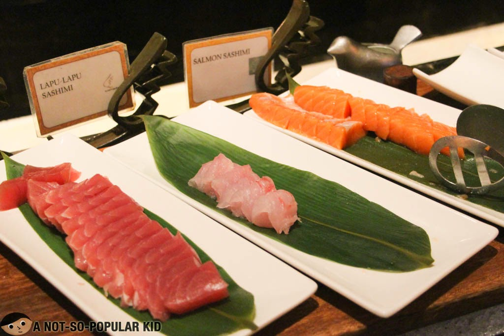 Tuna, Lapu-Lapu and Salmon Sashimi in Corniche Restaurant