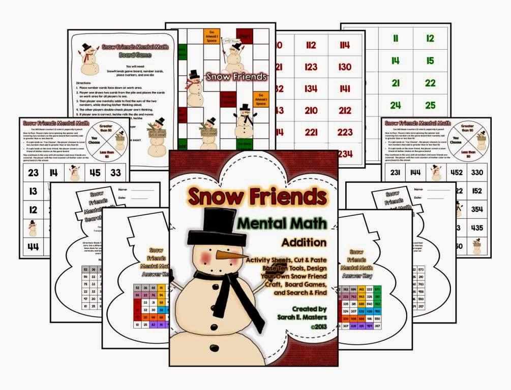 http://www.teacherspayteachers.com/Product/Snow-Friends-Mental-Math-Addition-Activities-Games-1043340