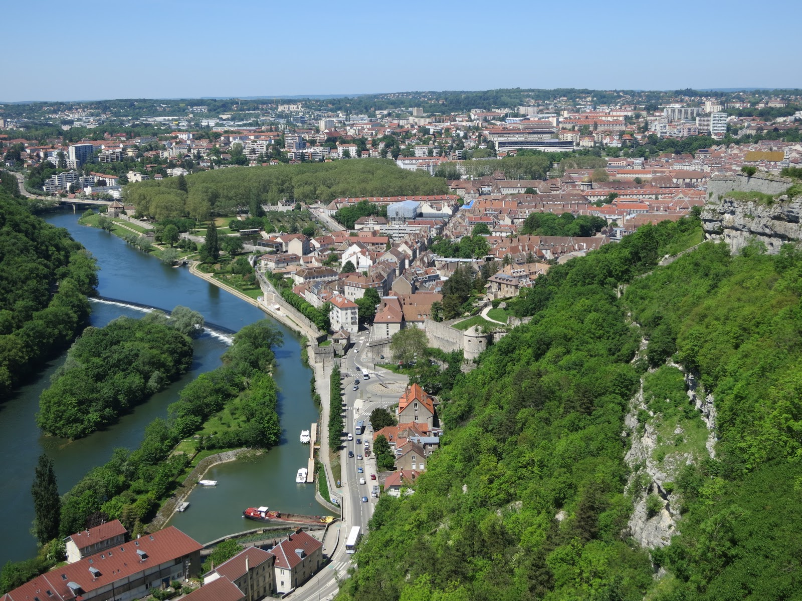 View from Citadelle towards Besancons old town
