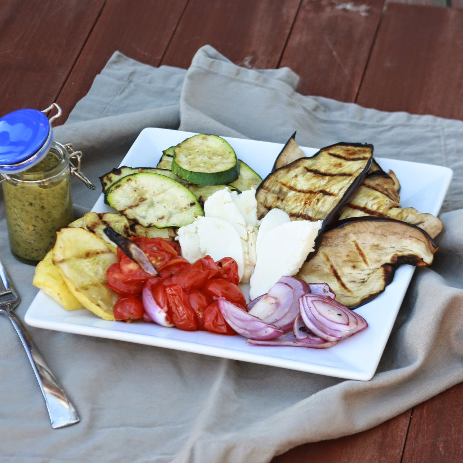 Grilled Vegetable Caprese with Balsamic Pesto | The Sweets Life
