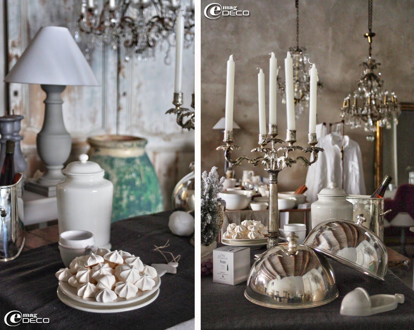 Cloches rondes et chandelier cinq branches en métal argenté, Côté Bastide