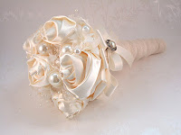 Any Gold Bouquets? Share Photos Please :  wedding bling bouquet bride ceremony diy flower fun glam gold no flower vintage wedding Ivory+Satin+Corsage+posy+by+Debbie+Carlisle+Bouquets+%25C2%25A3150
