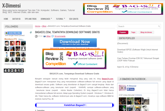 Pengumuman Event: BAGAS31 Blog Review Competition 6