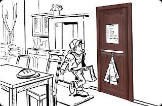 Drzwi Vox w kuchni z tablica magnetyczna i wieszakiem na ręczniki