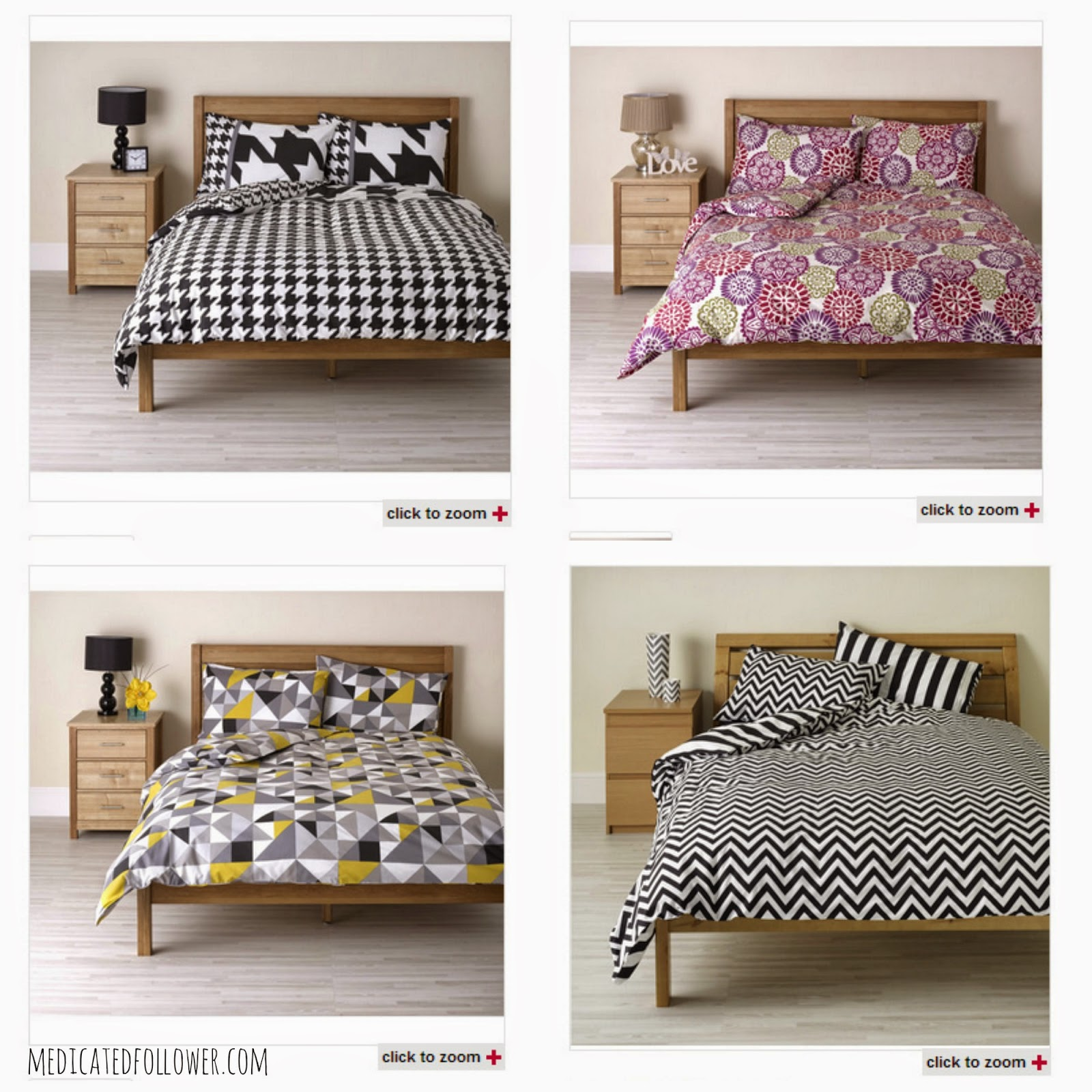 Wilko Wilkinsons bedding, duvet covers, Medicated Follower of Fashion, Monochrome, Geometric