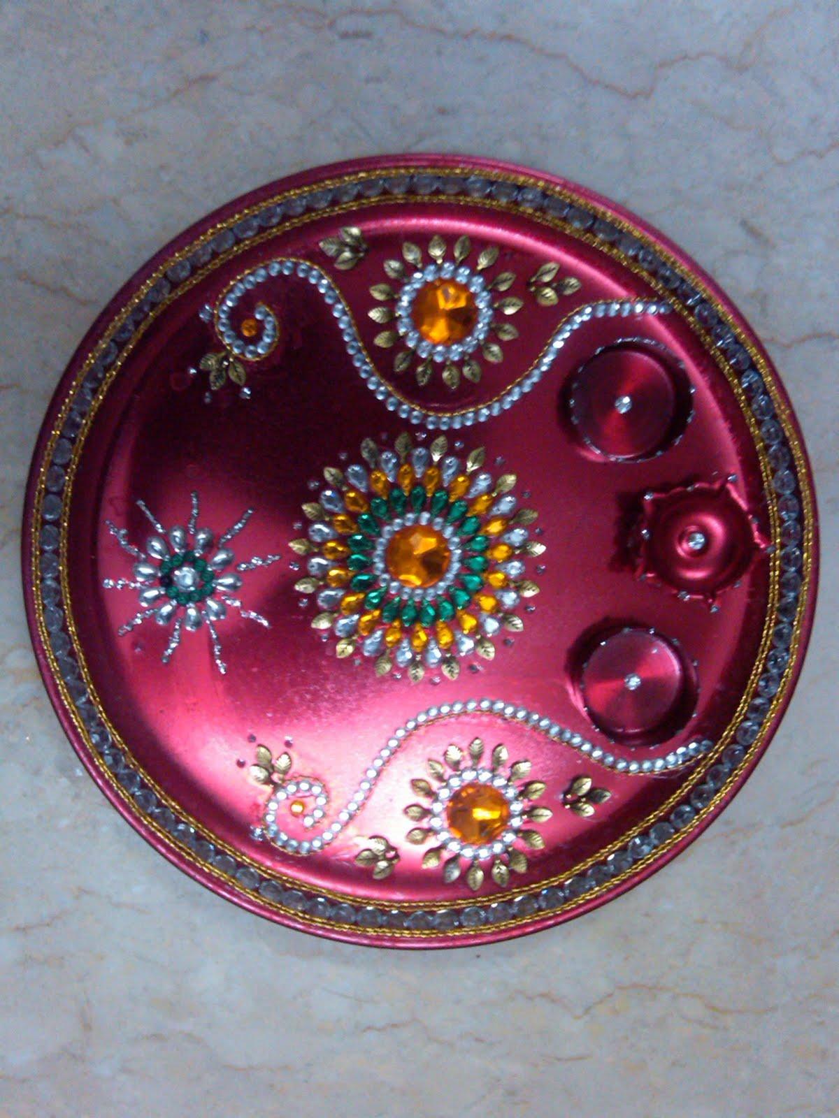 Ranjana arts www ranjanaarts com aarti thali pooja thali for Aarti thali decoration designs