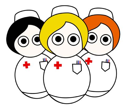 Dibujo con tres enfermeras para imprimir