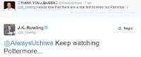 Patronus sull'account Twitter di J.K. Rowling