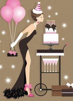 Dibujo de mujer soplando una vela en tarta de cumpleaños