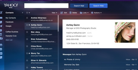 contactos en Yahoo lo nuevo