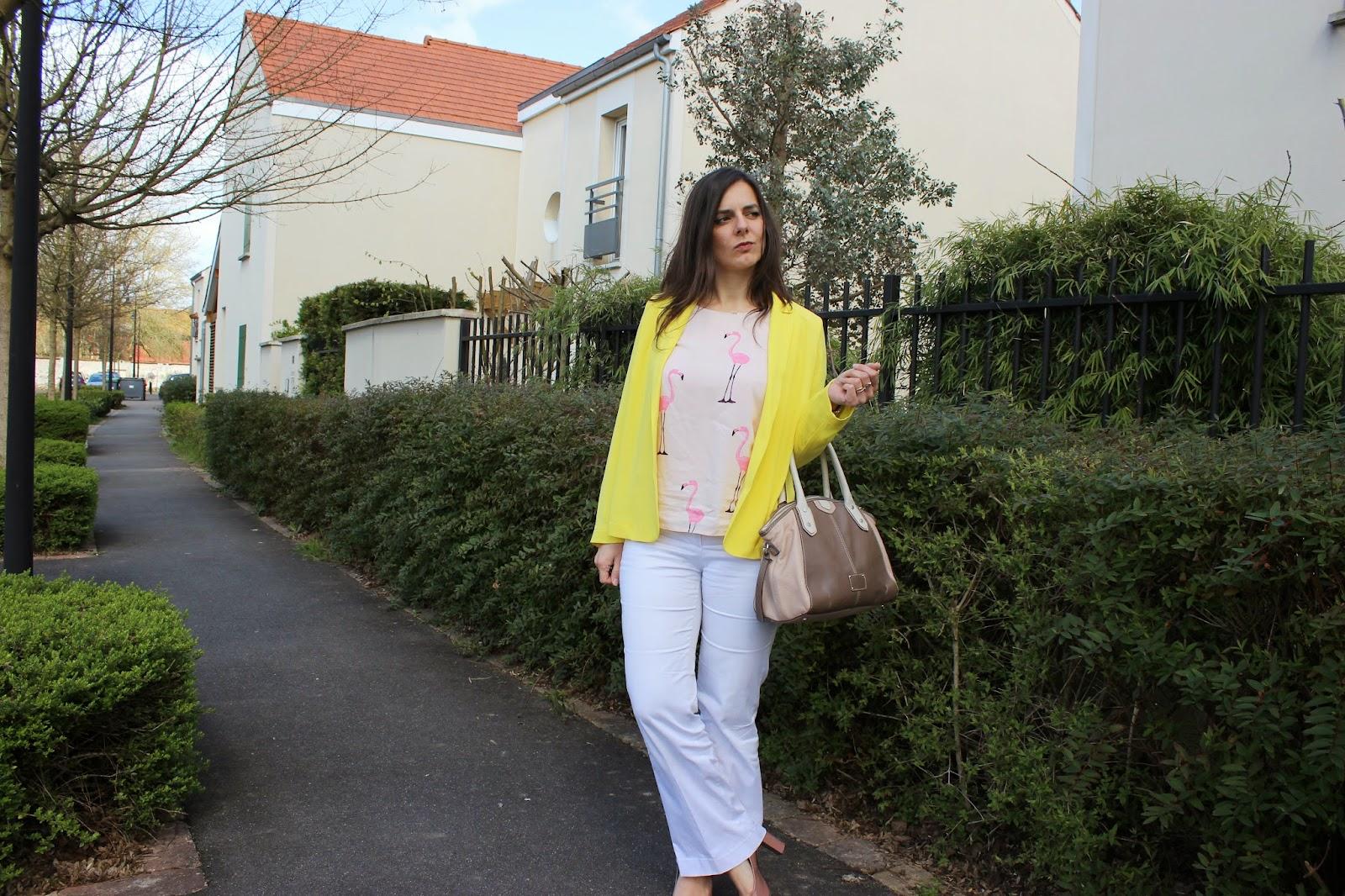 veste jaune balsamik, top flamant rose H et M, sac clarks défimorphoweek
