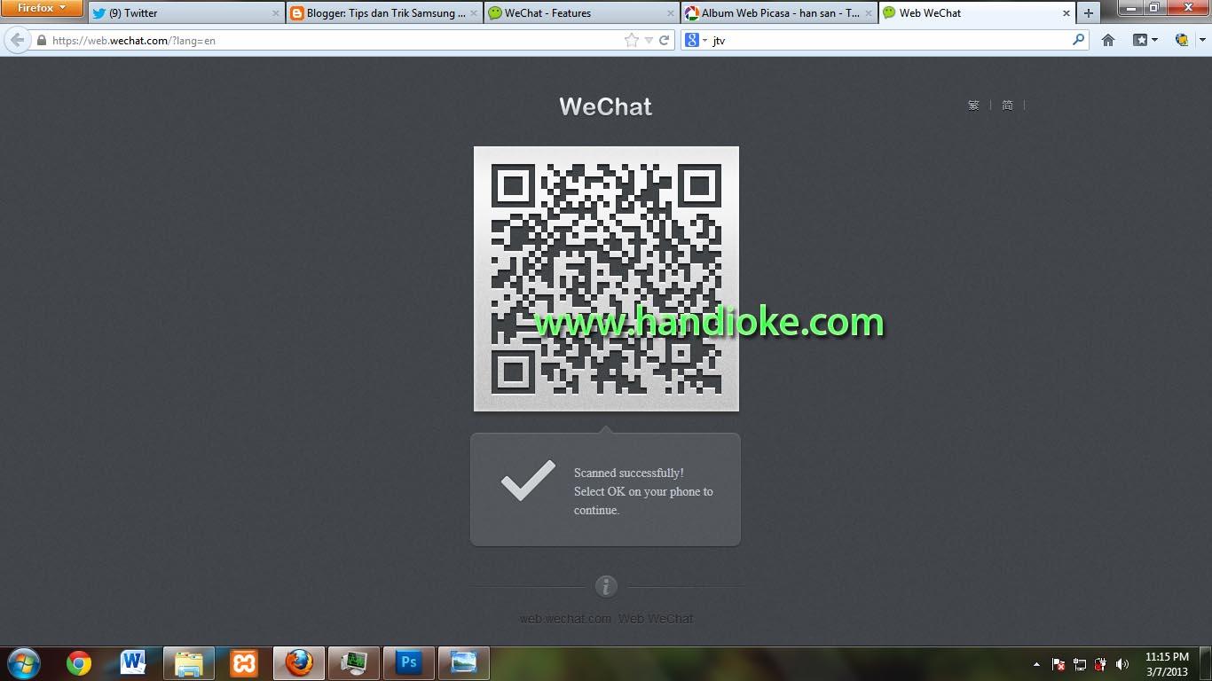 Web Wechat pada komputer menunggu konfirmasi pada smartphone
