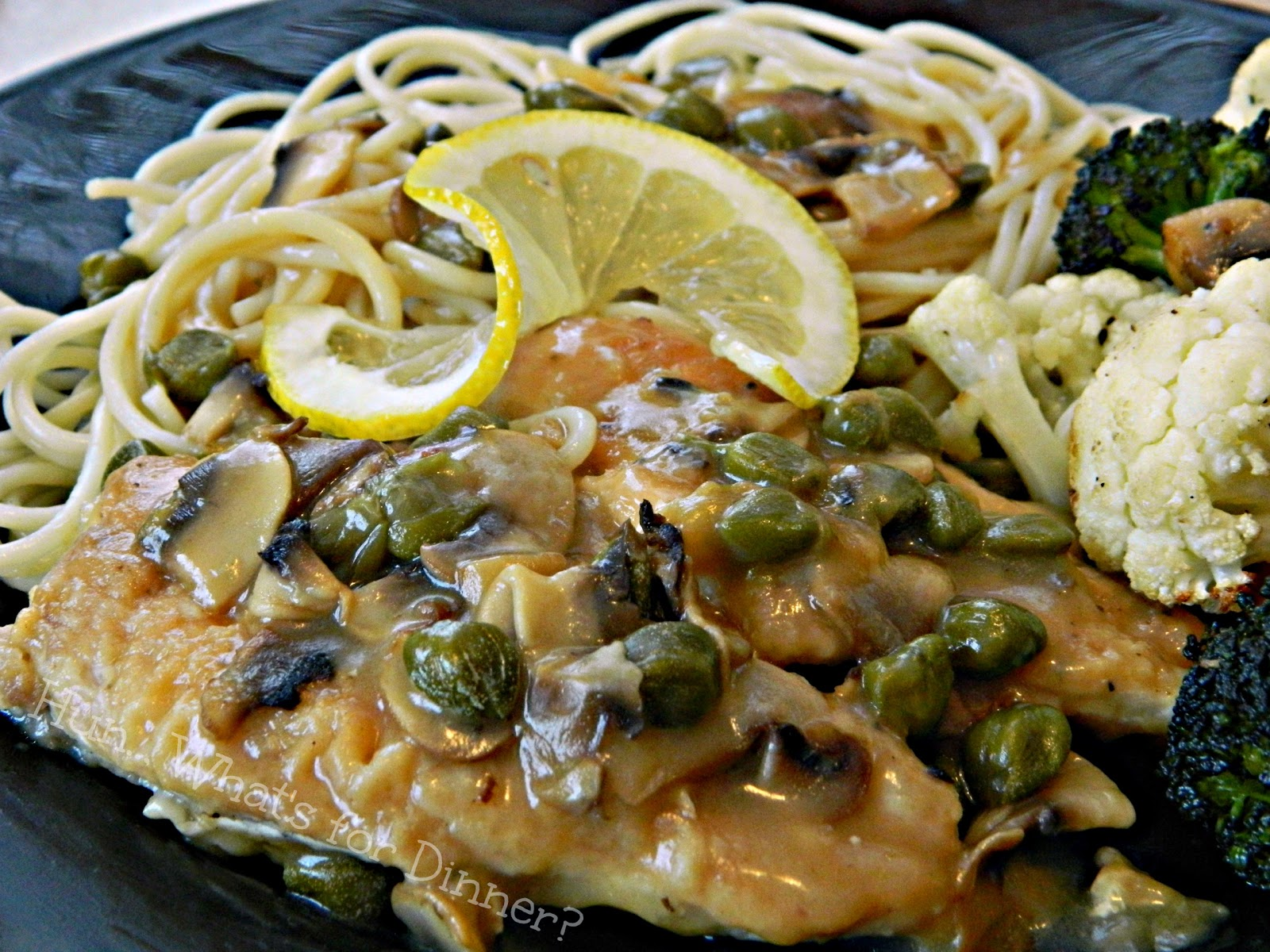 Hun... What's for Dinner?: Chicken Piccata- Tender chicken cutlets are served with a luxurious lemon, caper, mushroom sauce.