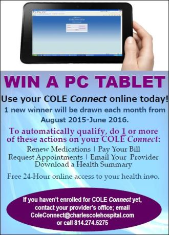 Cole Connect--Win A PC Tablet