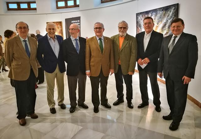 Grupo de pintores en la Diputación