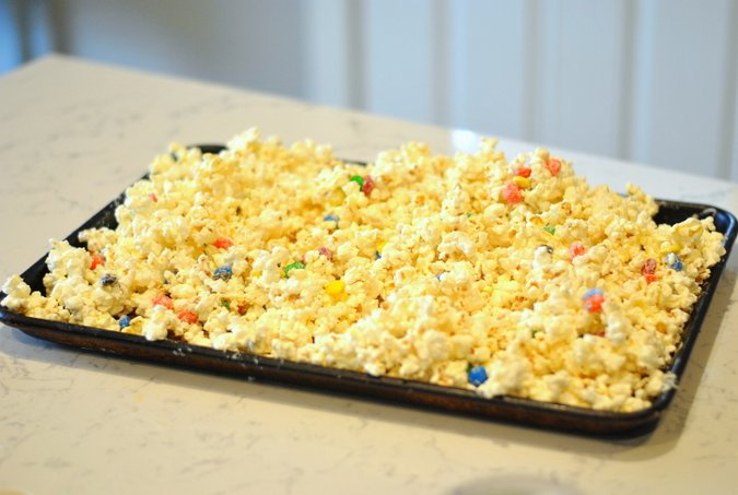 inside out inspired white chocolate popcorn with colorful candies