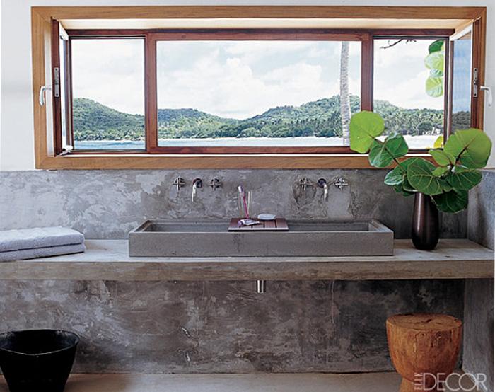 Baños Acabados Rusticos:El microcemento gris cálido es un color que combina bien con con