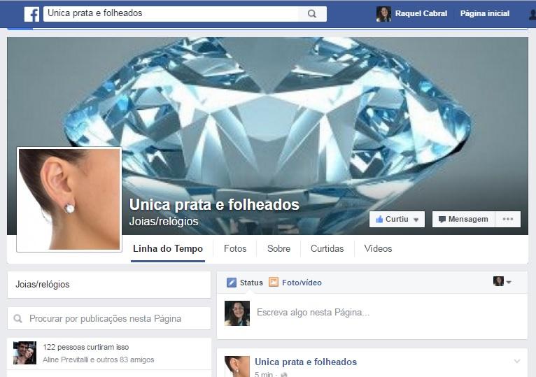Unica prata e folheados no Facebook