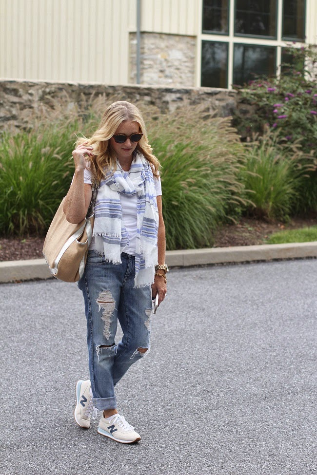 splendid white tee, blue stripe scarf, jcrew boyfriend jeans, new balance sneakers