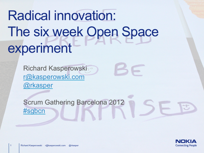 Radical Innovation: The Six Week Open Space Experiment