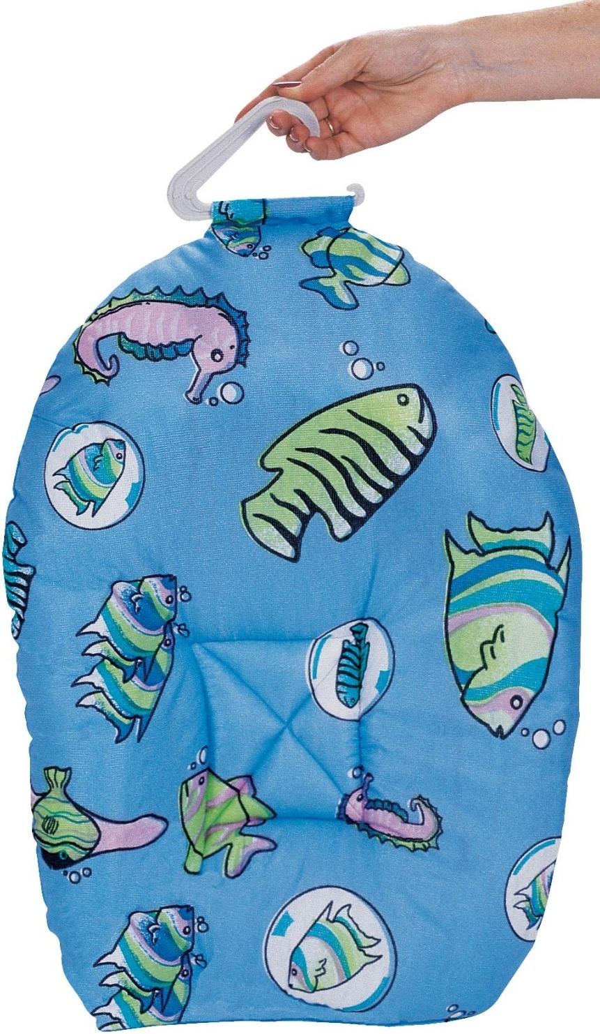 Leachco Safer Bather Infant Bath Pad Blue Fish Baby Cinema